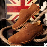 Men Shoes Suede Leather Casual Flat Shoes Lace-up