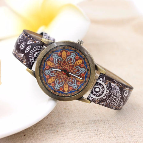 Womens Watches Retro Faux Leather Band Analog Quartz Mandala Design