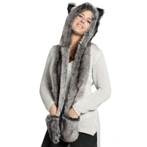 Faux Fur Women  Hat with  Cute Pockets Gloves Animal Scarf