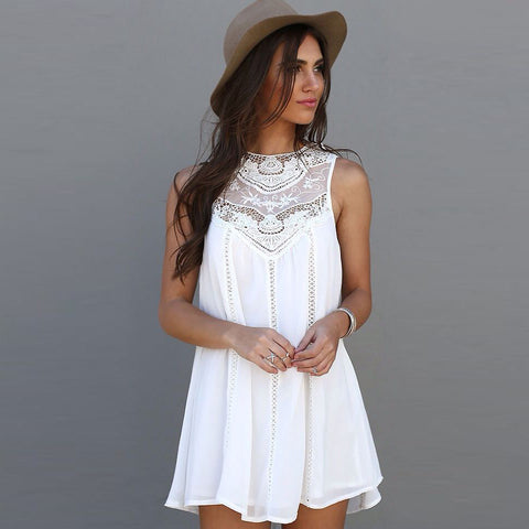 White Mini Lace Dress Summer Dress Casual Sleeveless Beach Short Dress