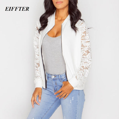 Women Jacket New Arrival Female Solid Lace Stitching Baseball Jacket