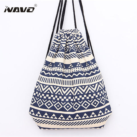 National Canvas Drawstring Backpack Vintage Ethnic School Bagpack