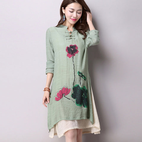New Women's  Long-Sleeved Cotton  Dress