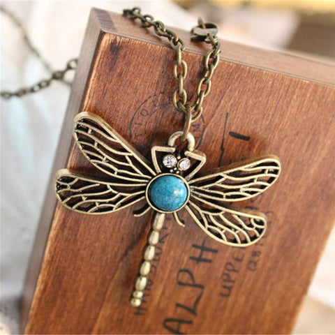 2016 New Vintage Jewelry Dragonfly  Chain Pendant Necklace