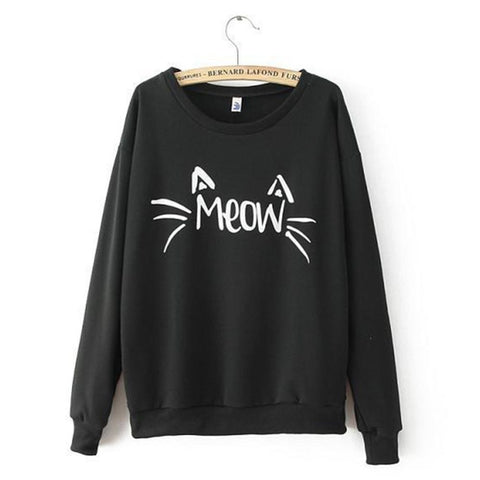 Women Long Sleeve MEOW Print Tops Jacket Coat