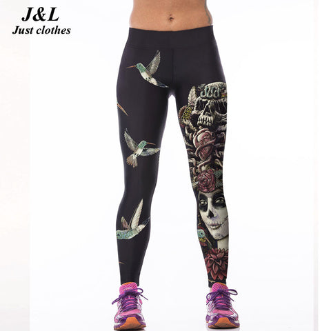 Sporting Leggings Women Skull Girl Birds Printed Women