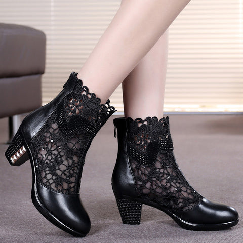 leatherboots medium heel shoes women's