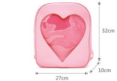 A sizing image for our transparent heart bag