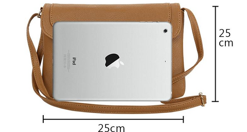 Sizing image for leather cross-body bag from Hitachi Club.
