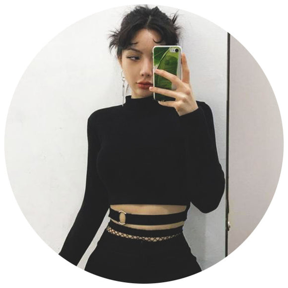 Black Crop Top Strapped Long Sleeve