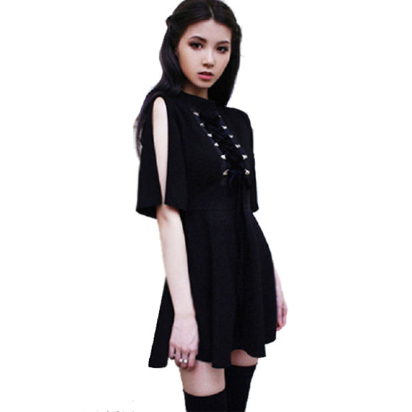 Ribbon Chest Gothic Women Black A Line Dress