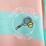 Embroidered Badminton Knit Striped Sweater