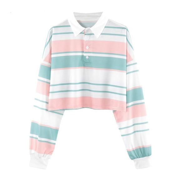 Pastel Striped Long Sleeve Polo