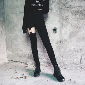 Goth Hollow Thigh Pencil Pants