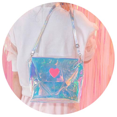 Holographic Translucent HeartHandbag