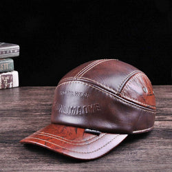 Spring Man Genuine Leather Baseball Cap Casual Cowhide