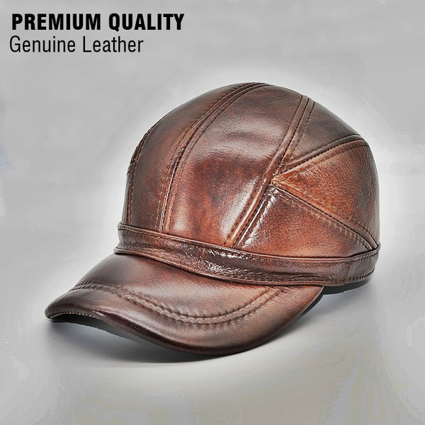 Genuine Leather Hat 2018 Adult Unisex Baseball Cap Winter