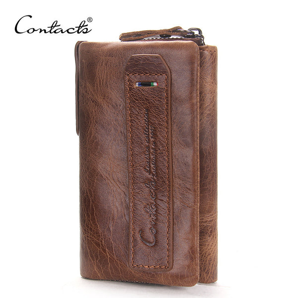 Vintage Crazy Horse Leather Men Wallets Multi-Functional