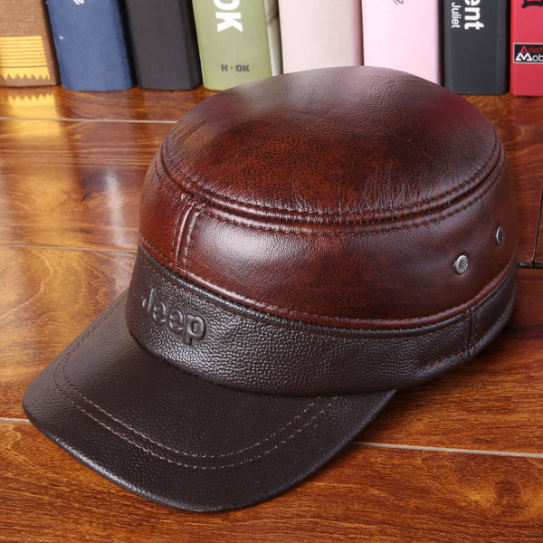 Spring Man Genuine Leather Commando Hat Premium Quality Cowhide