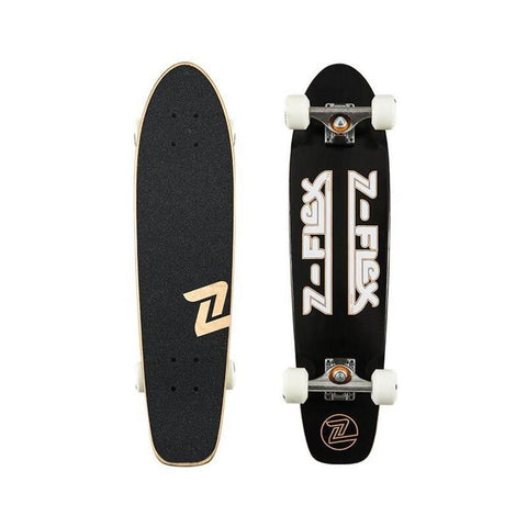 "Zflex Skateboard Cruiser Complete Z Bar Cruiser 29"" Black White-50-50 Skate Shop"