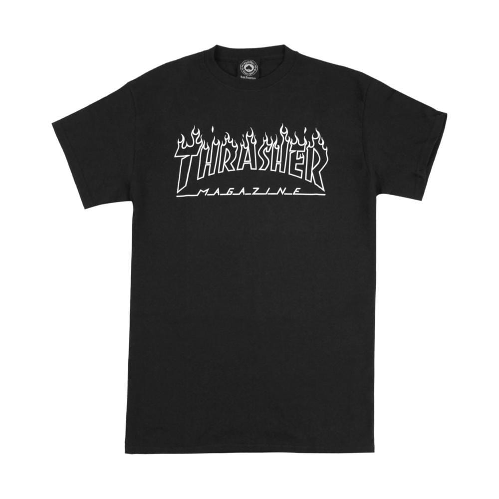 Thrasher Flame Outline Tee Black