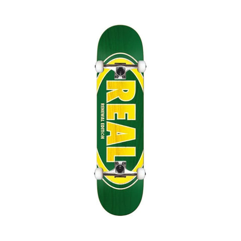 "Real Skateboard Complete Duofade Oval 7.75"" Green Yellow-50-50 Skate Shop"