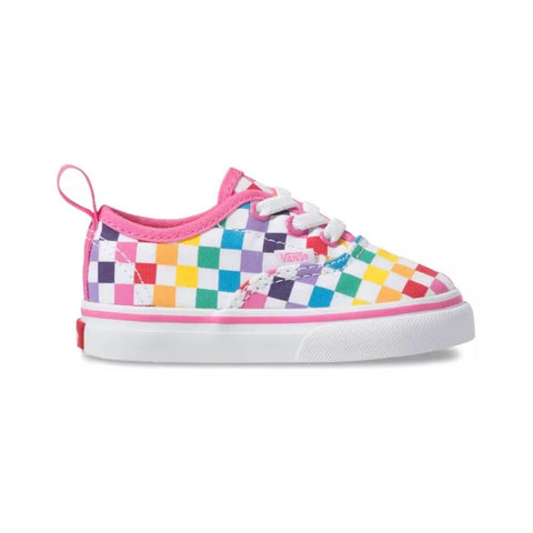 Vans Toddler Authentic Elastic Lace Checkerboard Rainbow White