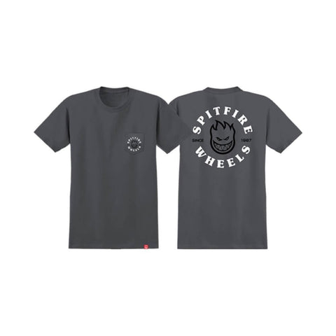 Spitfire Tee Bighead Classic Pocket Charcoal White Black - 50-50 Skate Shop