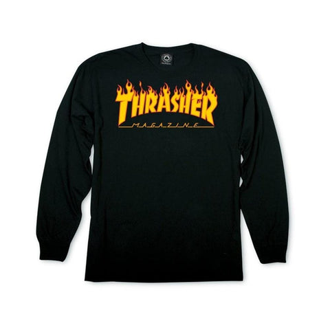 Thrasher Flame Logo Long Sleeve black-50-50 Skate Shop