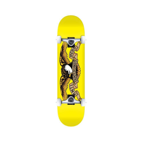 "Anti Hero Skateboard Complete Classic Eagle 7.38"" x 29.13"" Mini Yellow - 50-50 Skate Shop"