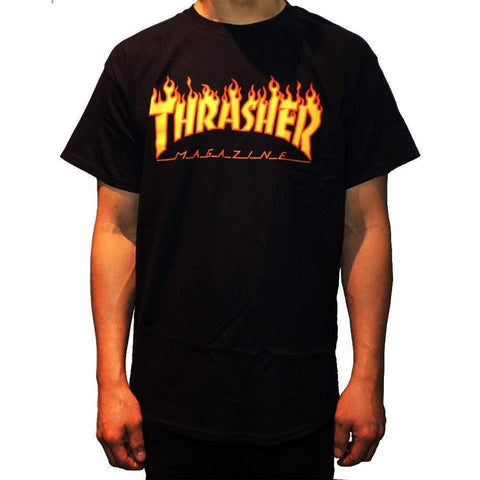 Thrasher Flame Tee Black-50-50 Skate Shop