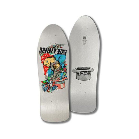 "H-Street Skateboard Deck Danny Way Rabbit In The Hat B Series Silver 9.8"" x 30.25""-50-50 Skate Shop"