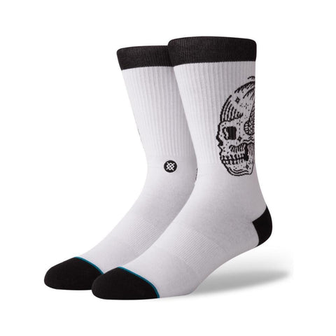 Stance Mens Skull Palm Socks White-50-50 Skate Shop