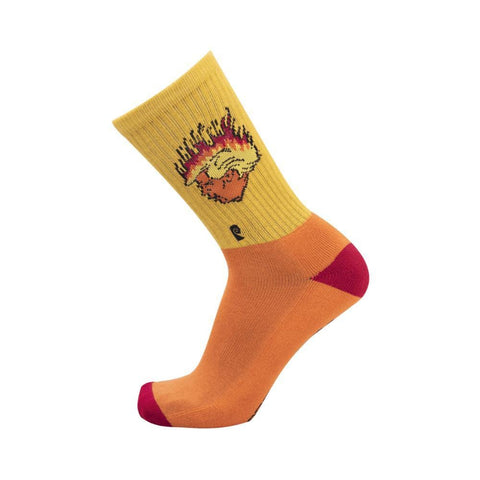 Psockadelic Flaming Turd Socks Orange Yellow-50-50 Skate Shop