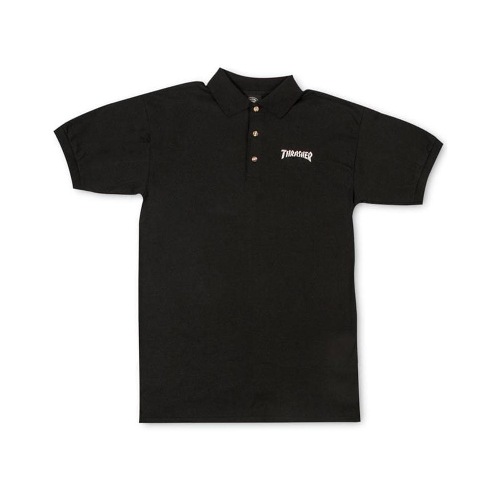 Thrasher Logo Embroidered Polo Black