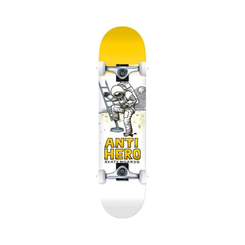 "Anti Hero Skateboard Complete Moon Landing 8.0"" x 31.5"" Yellow White - 50-50 Skate Shop"