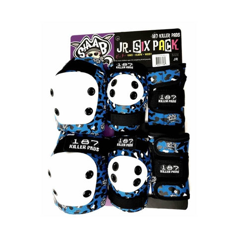 187 Junior Knee Elbow Wrist Guard Six Pack Staab Blue - 50-50 Skate Shop