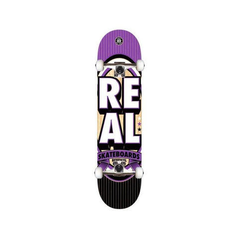 "Real Complete Stacked 7.3"" Mini Black Teal Purple-50-50 Skate Shop"