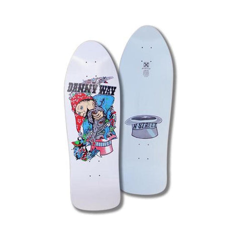 "H-Street Skateboard Deck Danny Way Rabbit In The Hat B Series White Dip 9.8"" x 30.25""-50-50 Skate Shop"