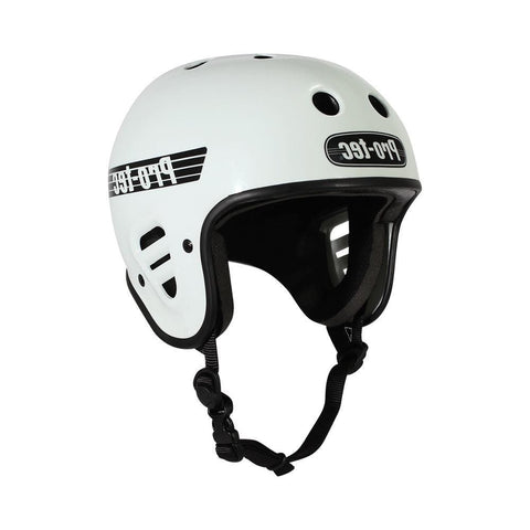 Pro Tec Classic Full Cut Skate Bike Certified Helmet Gloss White-50-50 Skate Shop
