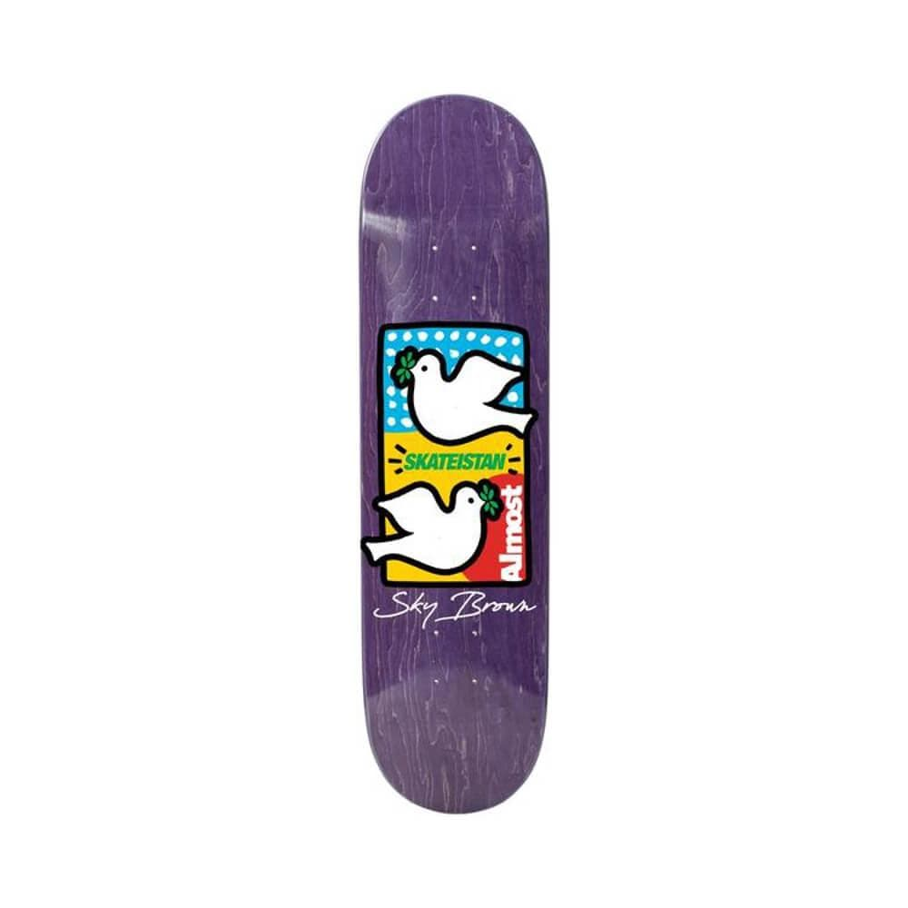 "Almost Skateboard Complete Skateistan Double Doves R7 8.0"" x 31.7"" Purple-50-50 Skate Shop"
