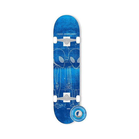 "Alien Workshop Skateboard Complete Blueprint 7.625"" Blue - 50-50 Skate Shop"