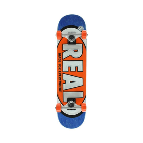 "Real Skateboard Complete Classic Oval 7.38"" Mini Orange Blue - 50-50 Skate Shop"