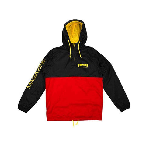 Thrasher Mag Logo Anorak Jacket Black Red-50-50 Skate Shop