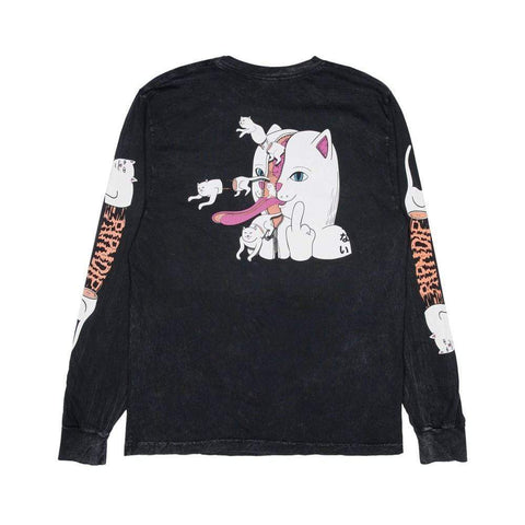 Ripndip Zipperface Long Sleeve Tee Black Mineral Wash-50-50 Skate Shop
