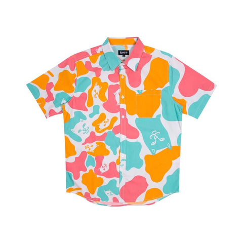 Ripndip Oversize Camo Short Sleeve Button Up Shirt Multi-50-50 Skate Shop