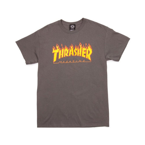 Thrasher Flame Tee Charcoal-50-50 Skate Shop