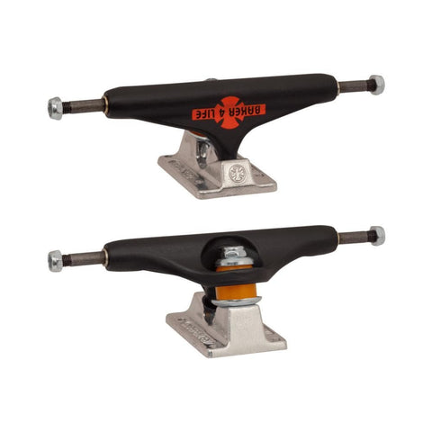 Independent x Baker 4 Life Forged Hollow Trucks 144mm Black Silver (Pair) - 50-50 Skate Shop
