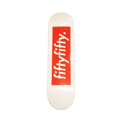 50-50 Skate Shop Skateboard Deck Box Logo White Red - 50-50 Skate Shop