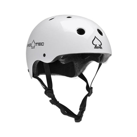 Pro Tec Classic Certified Skate Bike Helmet Gloss White-50-50 Skate Shop